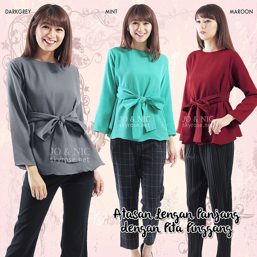 Buy New Top Collection Deals For Only Rp70000 Instead Of Ameera Longsleeve Tunic Shirt Sr53510zh Gt Cutting A Line Long Sleeve Semi Wide Waist Belt Attached To The Back With Pretty Wrinkle Accent