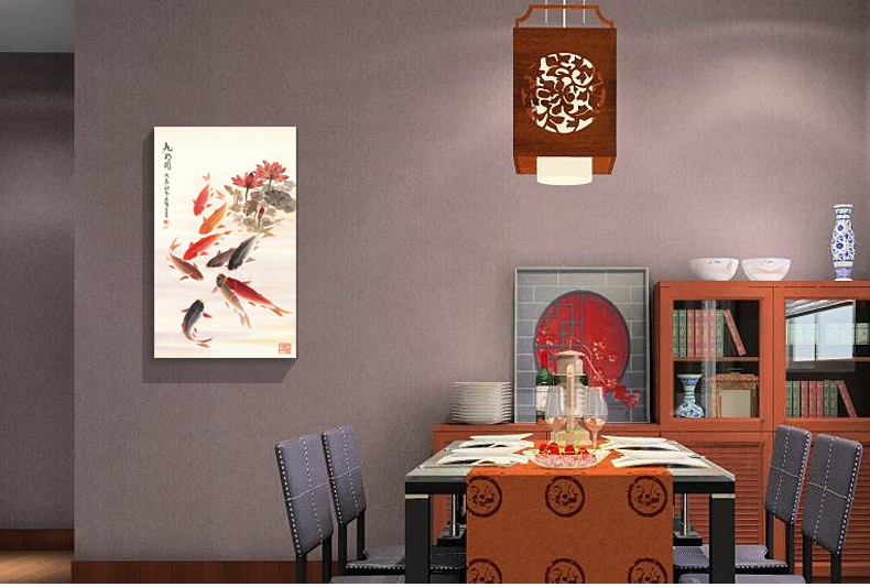 Buy finished product nine fish feng shui painting for Feng shui dining room art