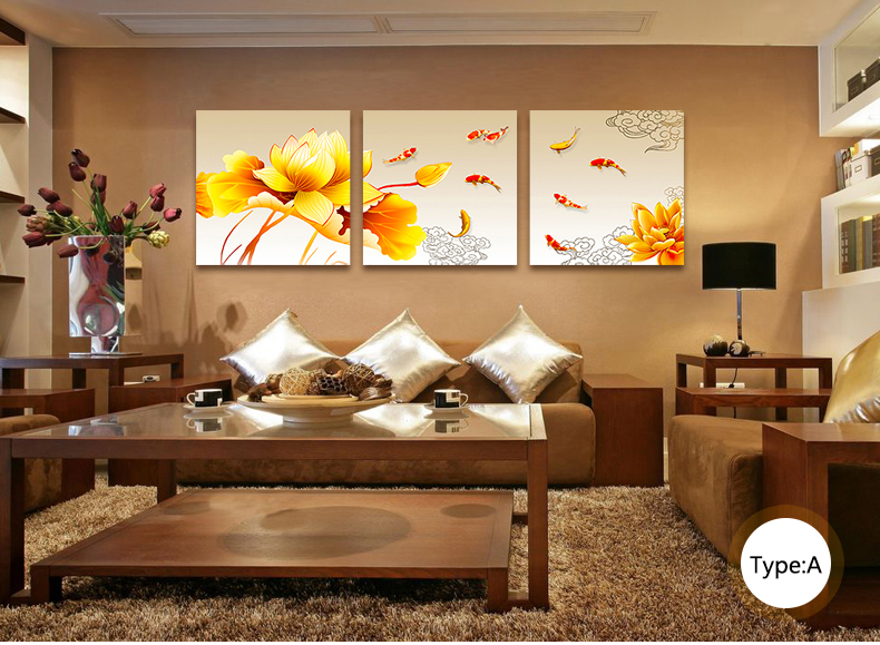 Buy Finished Product Nine Fish Feng Shui Painting Triptych