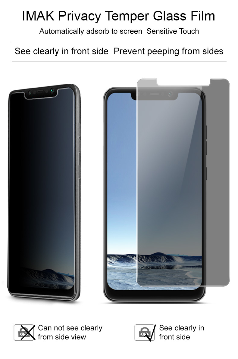 Imak Full Coverage Tempered glass screen protector for Xiaomi Pocophone F1 ( Full Adhesive (Black) Available)