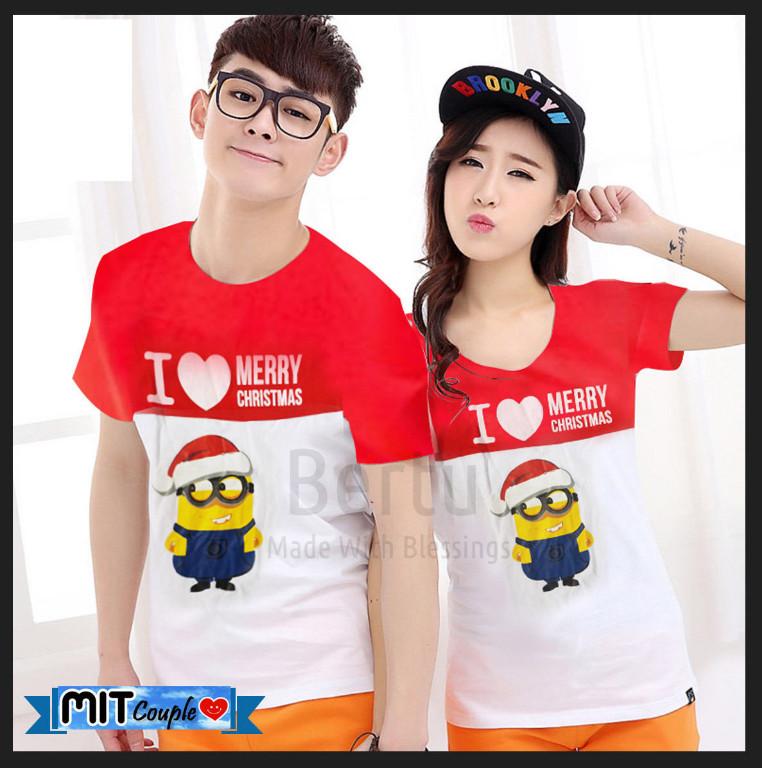 xmas is calling! new arrival couple tshirt christmas edition! kaos pasangan / baju couple