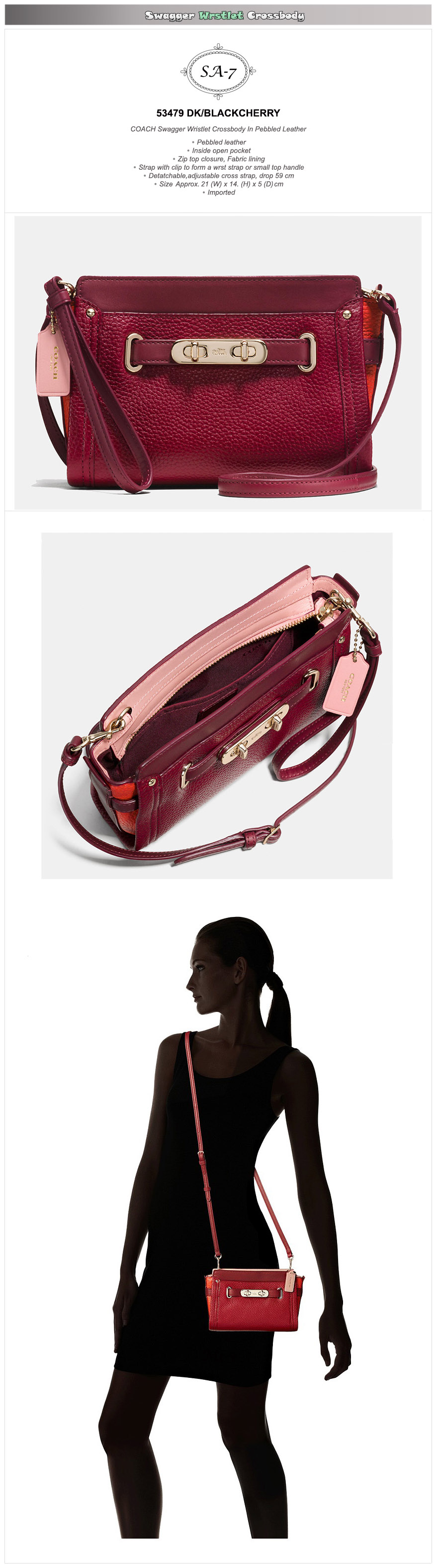 Buy Restockexclusive Sale Coach Swagger Official Genuine Products Wristlet In Pebble Leather Watermelon Go And Save Your Money Up