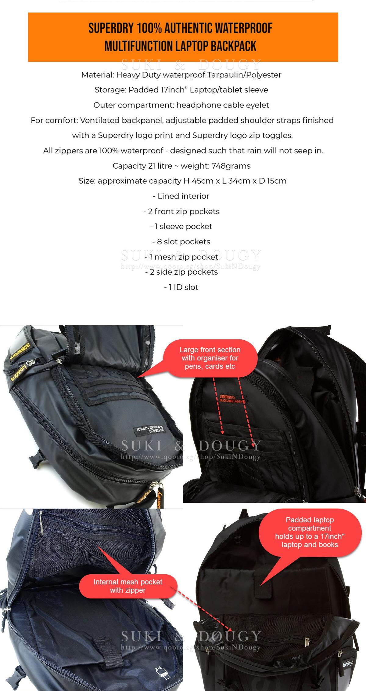 e019d6a7e17b ... Size  approximate capacity H 45cm x L 34cm x D 15cm - Lined interior -  2 front zip pockets - 1 sleeve pocket - 8 slot pockets - 1 mesh zip pocket