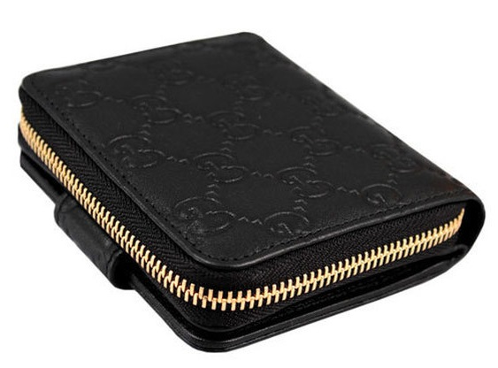 aee86553c777 M2)Gucci Women 346056 Leather GG Guccissima French Zip Around Short Wallet  (Black) $499