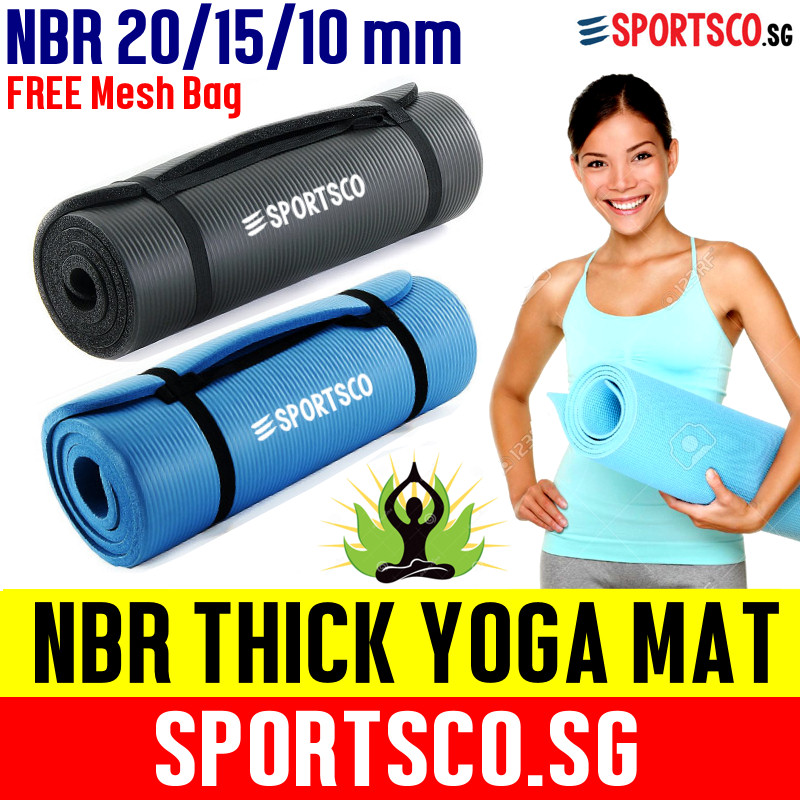 SPORTSCO 20mm NBR Extra Thick Yoga Exercise Mat (Blue