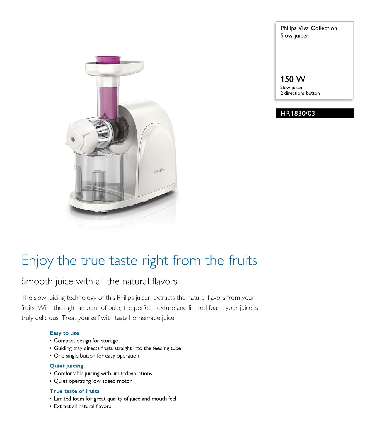 Philips Slow Juicer 1830 : ET SOUND ENTERPRISE PTE LTD. Philips viva Collection Slow Juicer HR1830