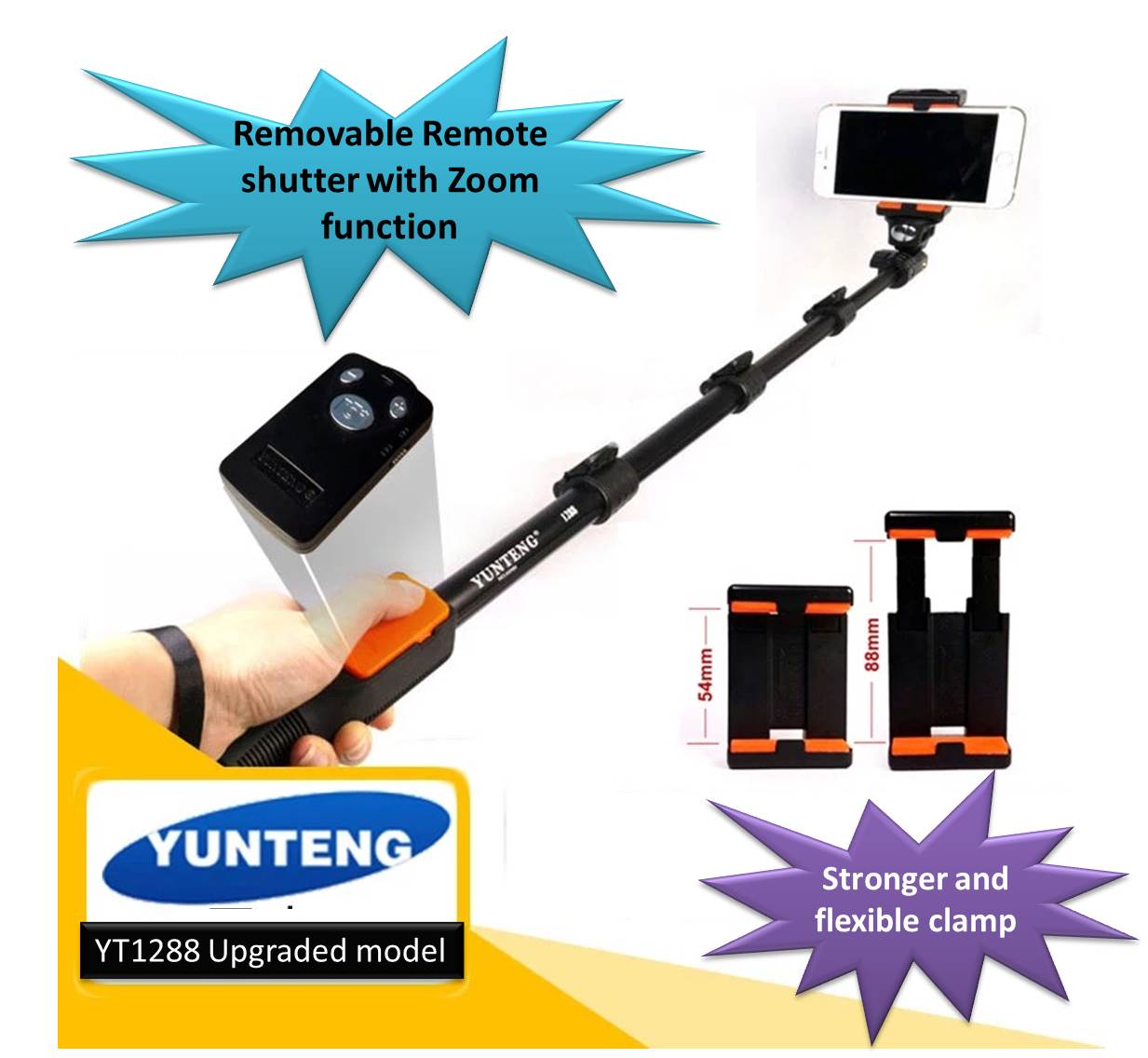 Yunteng Yt 1288 Monopod Selfie Stick Tongsis Bluetooth With Shutter Wk Wire Control Wt P01 New Improved Model Zoom