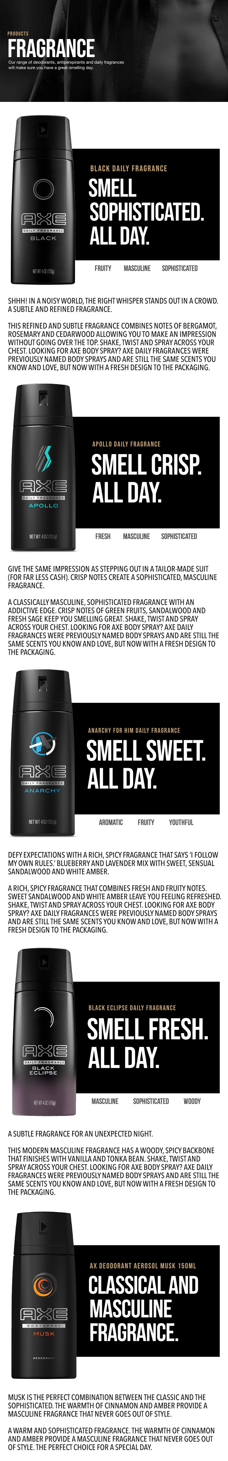 Every Need Want Day Axe Deo Apollo 150 Ml 1 Deodorant Body Spray Anarchy Black Night Musk 150ml