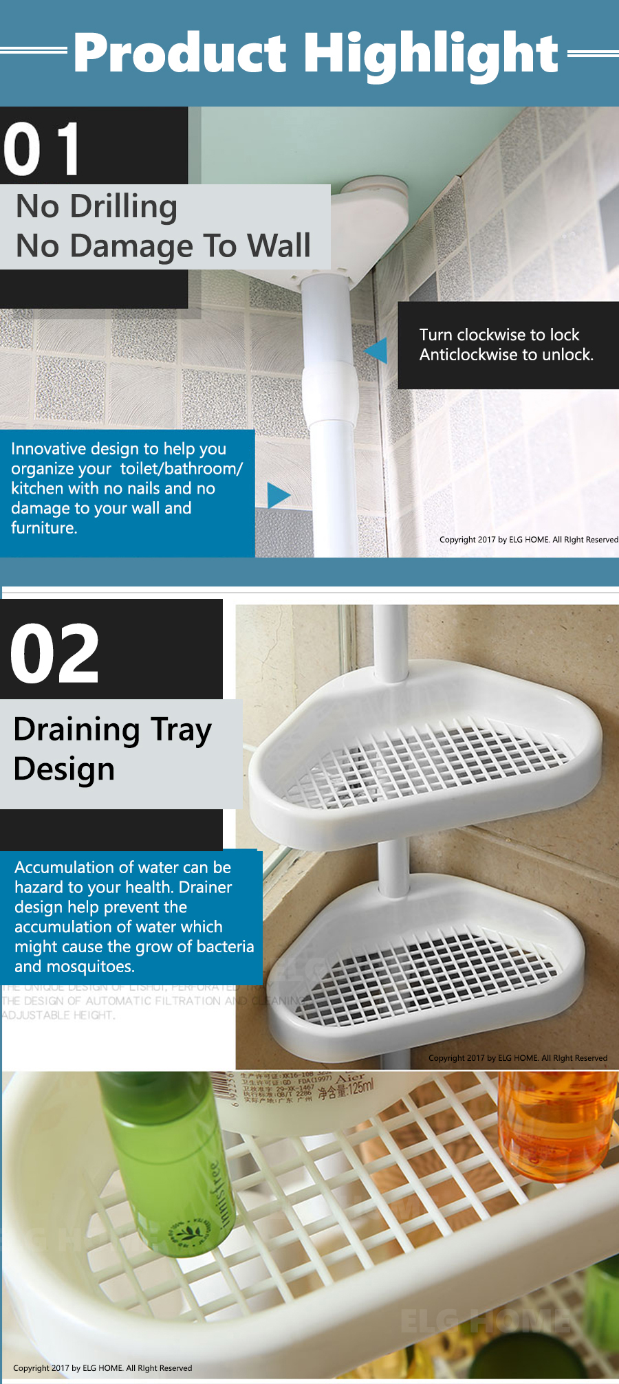 Bathroom Adjustable Organizer Rack/Toilet Shower Corner Holder ...