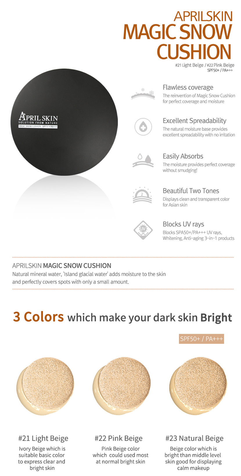 Buy April Skin Magic Snow Cushion Spf50 Pa 15g Magic
