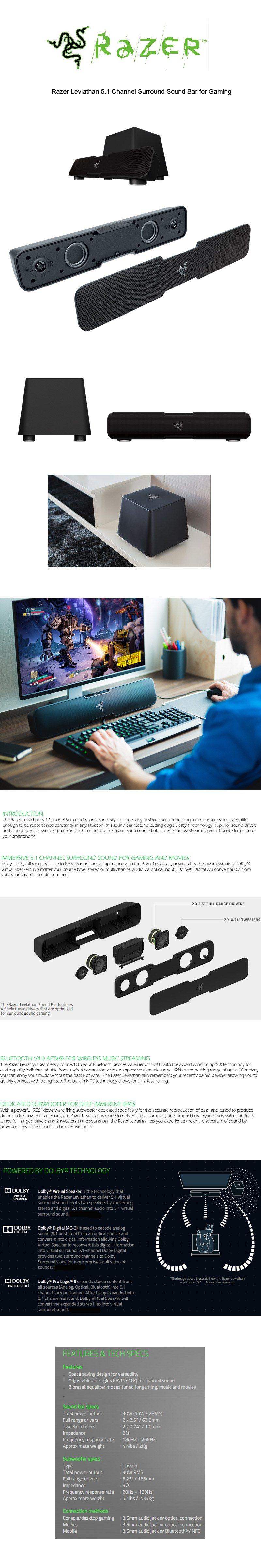Buy Razer Leviathan 51 Channel Surround Gaming Sound Bar Speaker Wireless Highlights