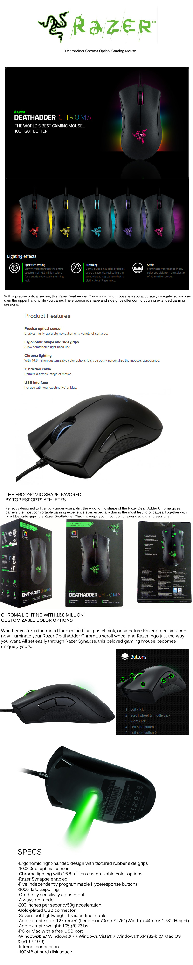 Razer DeathAdder Chroma Optical Gaming Mouse Ergonomic Shape Side Grips  Chroma Lighting Braided Cable 10000dpi Local Stocks 2 Years Razer Warranty