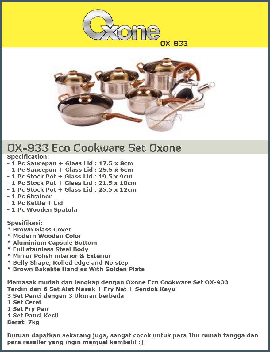 Oxone Eco Slow Juicer Ox 865 : Buy Serba Praktis Dengan OXONE Cookware Set Hanya Rp.369,000!! Deals for only Rp 410.000 instead ...
