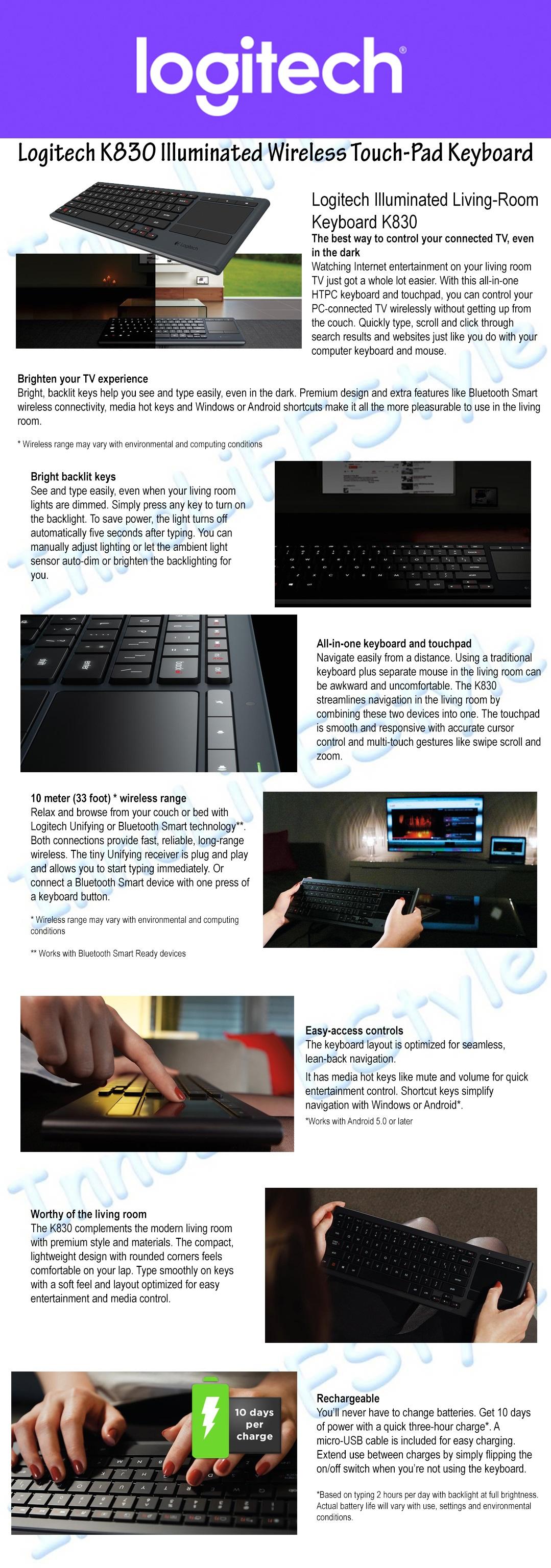 Logitech K830 Illuminated Wireless Living Room Keyboard