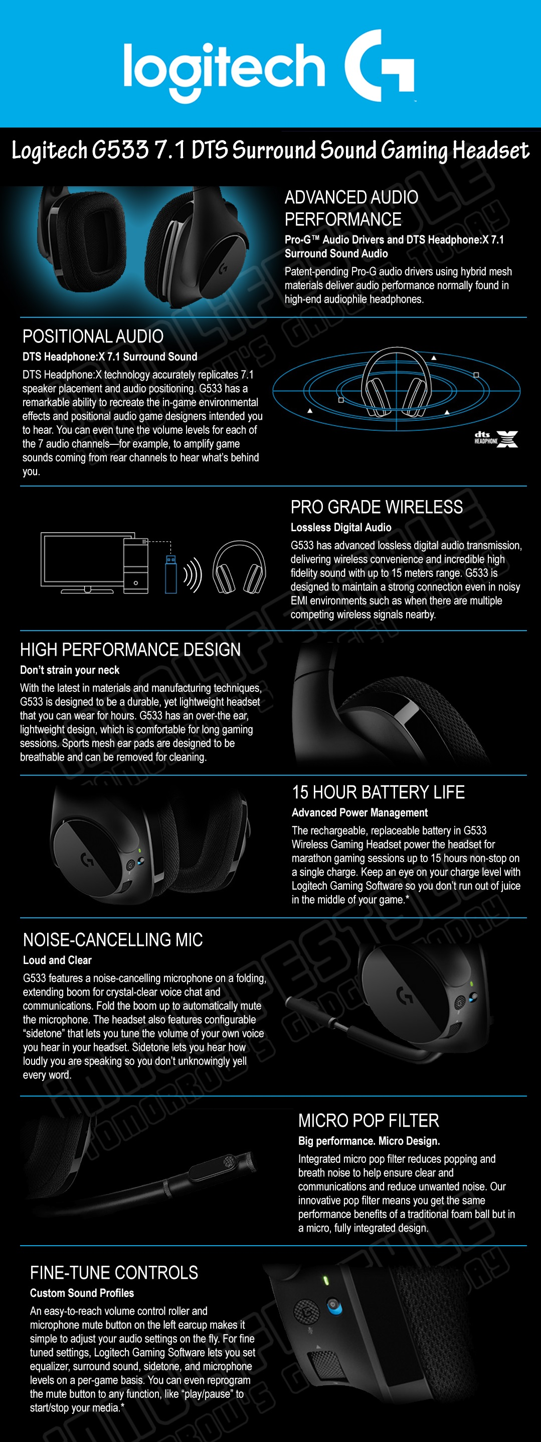 Logitech G533 DTS 7 1 Surround Gaming Headset ★2 Years Warranty★