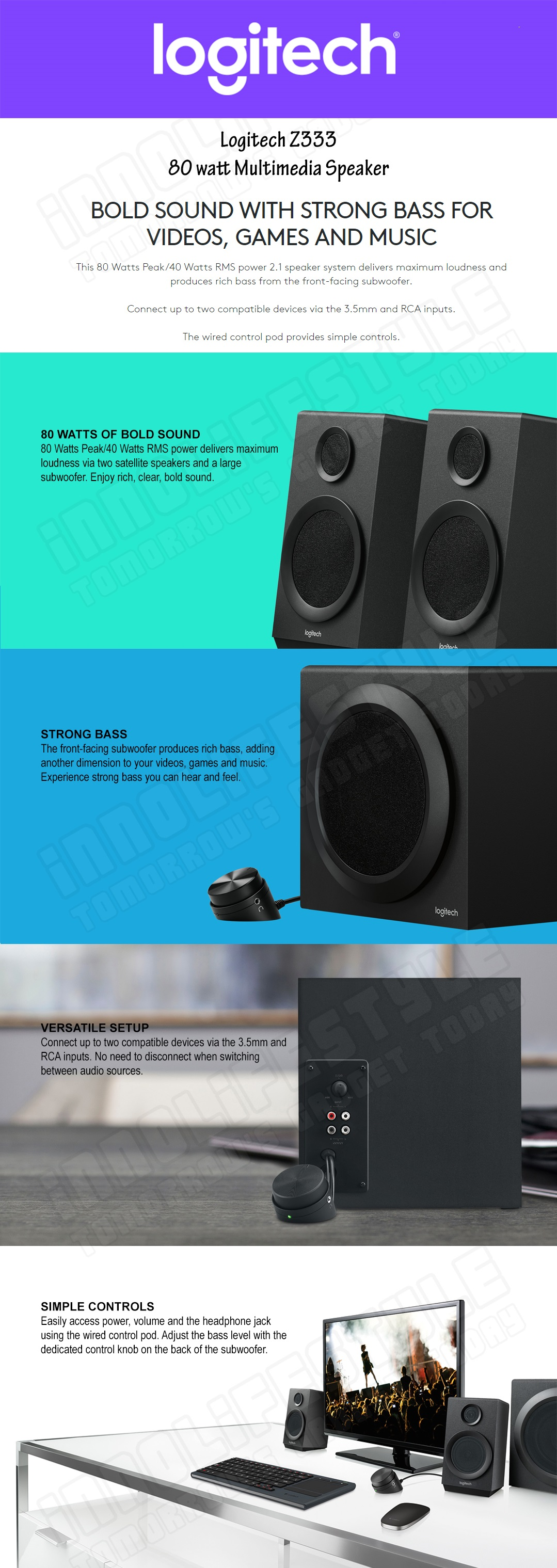 Logitech Z333 80 Watts Multimedia Speakers with Subwoofer ☆1 Year ...