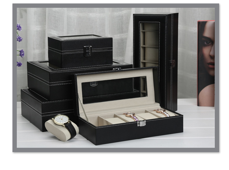 8ddce24f3e 6 Slots Black PU with Inner Beige 6 slots and 6 removable pads. Dimensions  Approx.  30 (L) x 11 (W) x 8 (H) cm. Box weight  Approx. 980 g. Material  PU