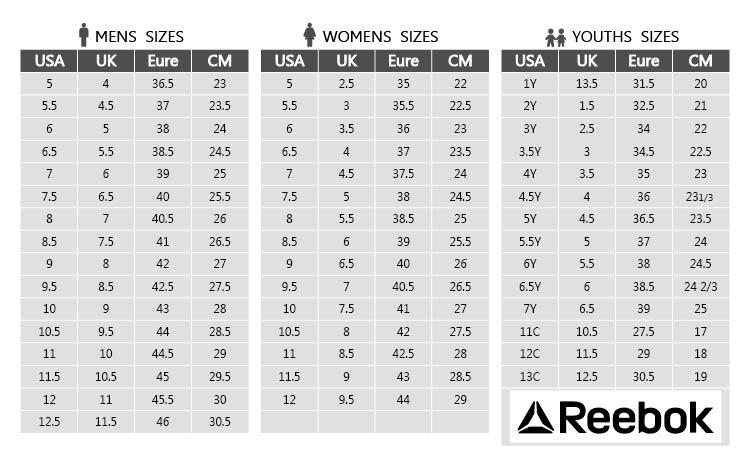 Reebok Shoe Size Chart Usa 59 Off Newriversidehotel Com