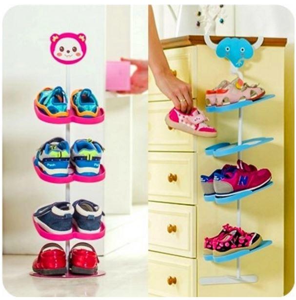 Kids Shoe Rack Organiser Children Storage Display Animals Design Baby Boy Shoes Stand