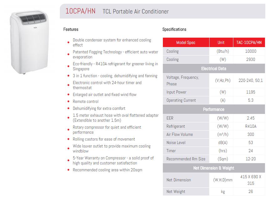 Tcl 10 000 Btu Portable Air Conditioner 10cpa Hn Mega