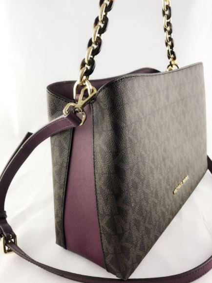 01c5d45cc4cf A1= PORTIA LARGE EW SATCHEL SIGNATURE- BROWN/PLUM