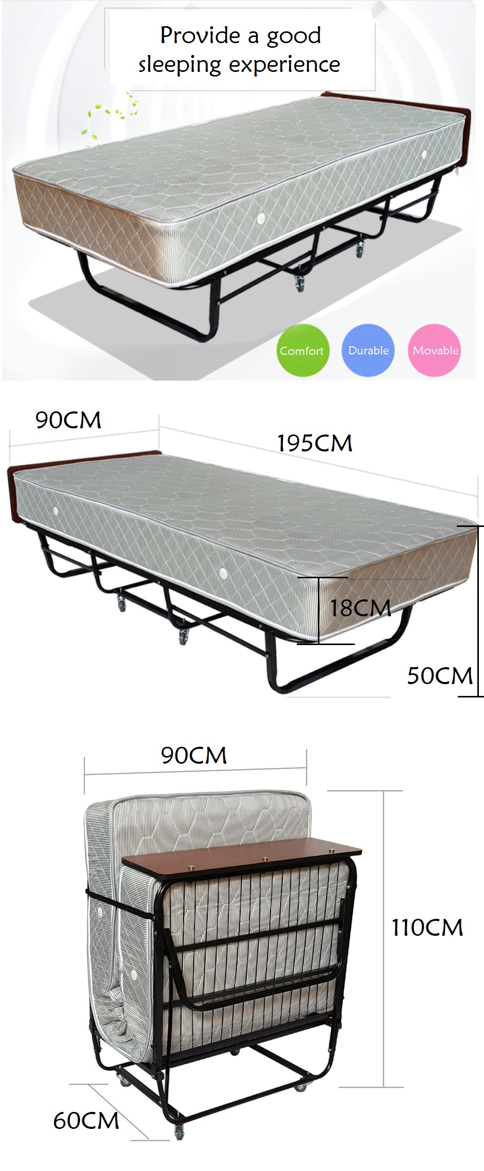 Hotel Grade 4-Fold Bed Frame with Mattress