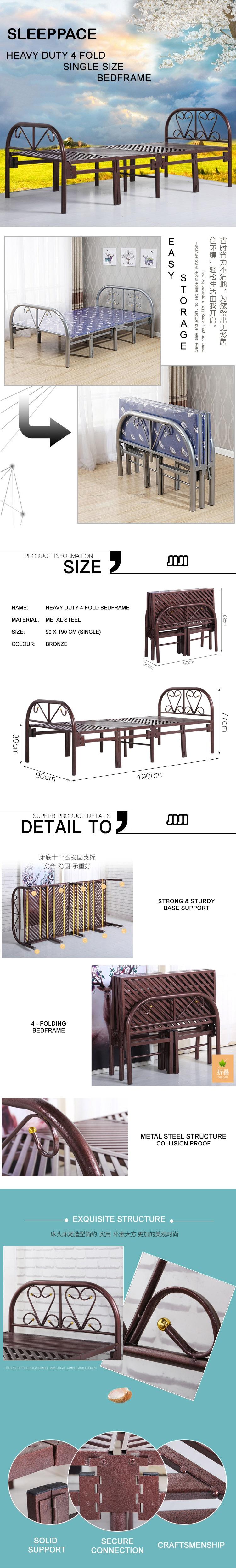 Heavy Duty 4-Fold Bed Frame