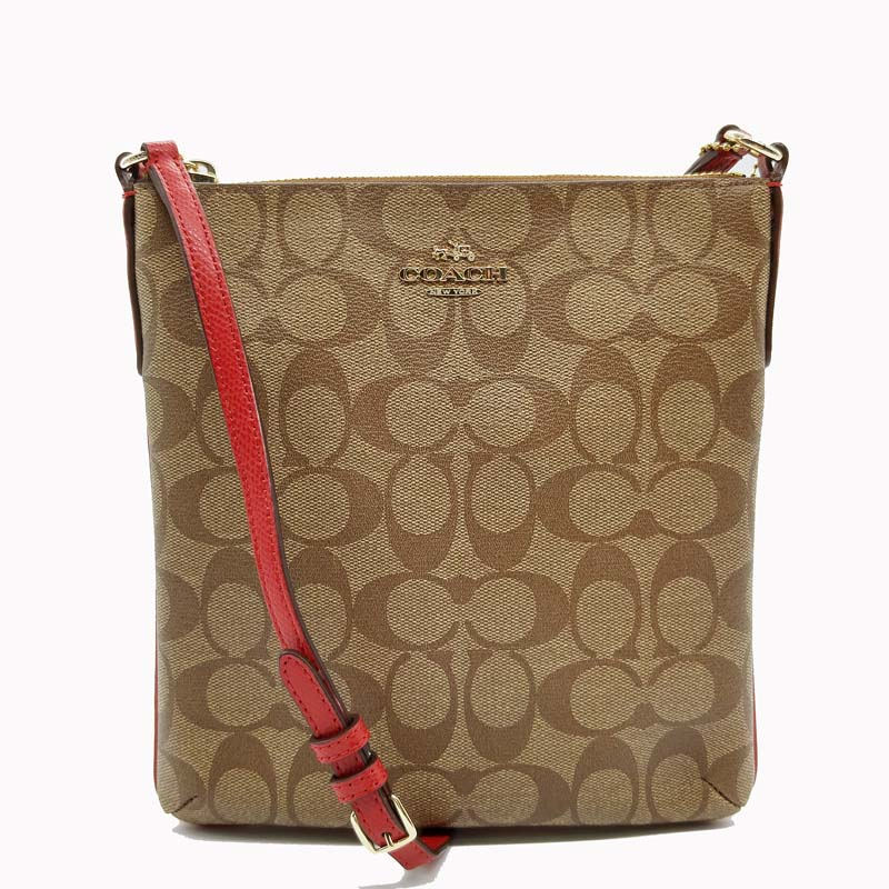 2bf1059614b2a COACH 35940 Signature North South Crossbody Bag Colour  Khaki Red or Light  Khaki Pink Signature Coated Canvas with Leather Trim Zip Top Closure