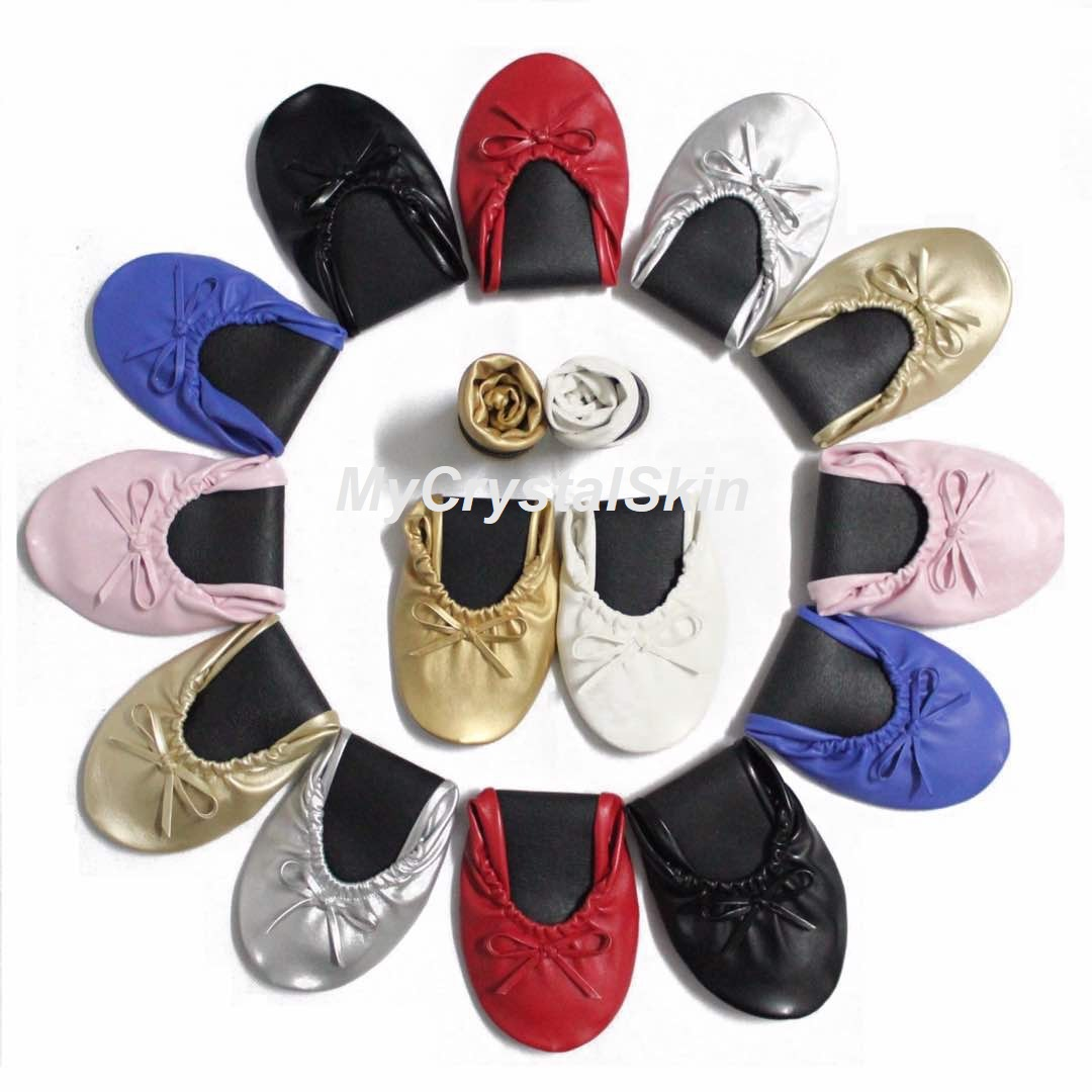 a655435c4dc4 Party Feet Foldable Ballet Flats ☆ Leather☆ Ballerina Foldable Flat Shoes ☆  Comes with free pouch