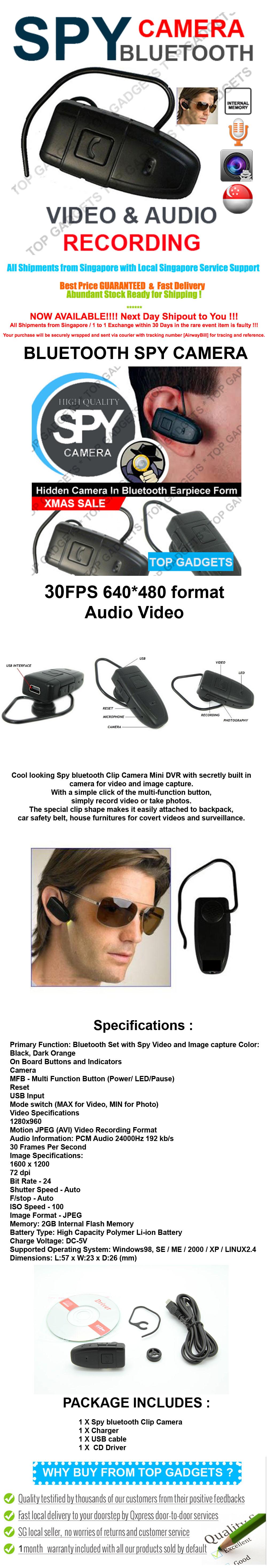 Bluetooth Spy DVR Camera 30FPS 8GB