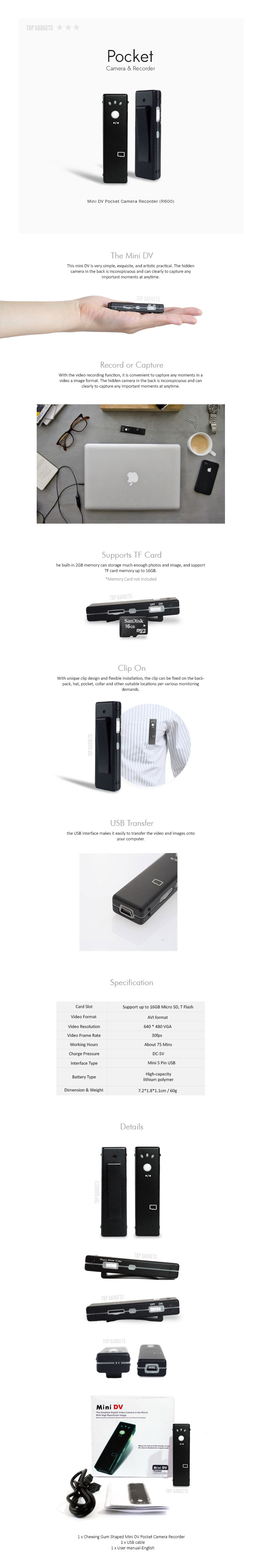 Mini Pocket Gum Stick Camera and Recorder Spy Cam