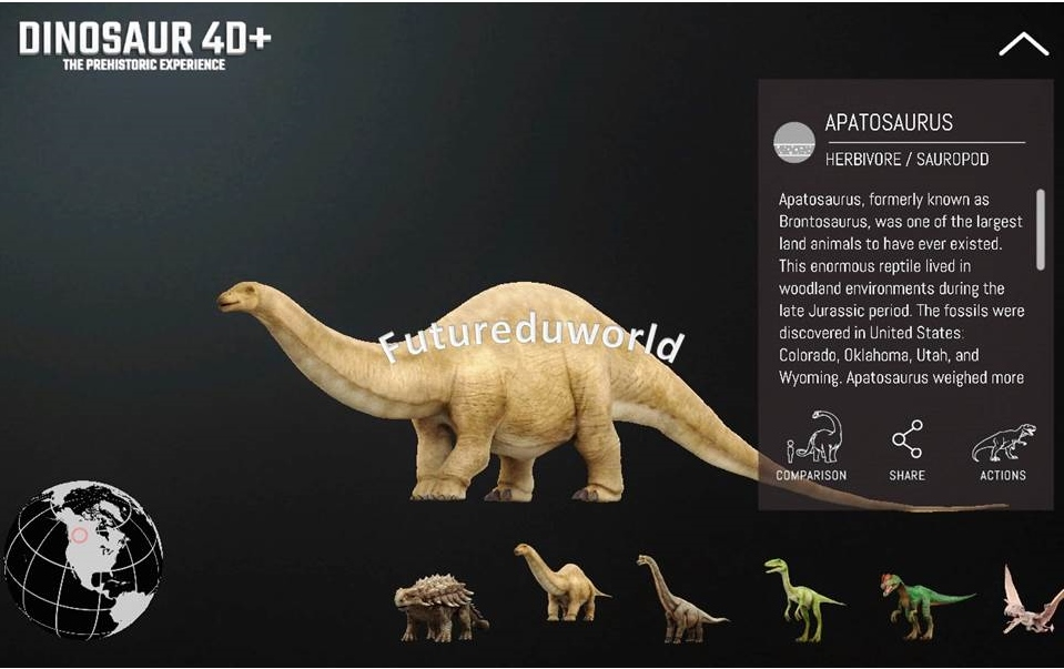 Spot the origins of the dinosaurs from the enormous Sauropods to the tiny Compsognathus all over the globe - Compare human body size with each dinosaurs