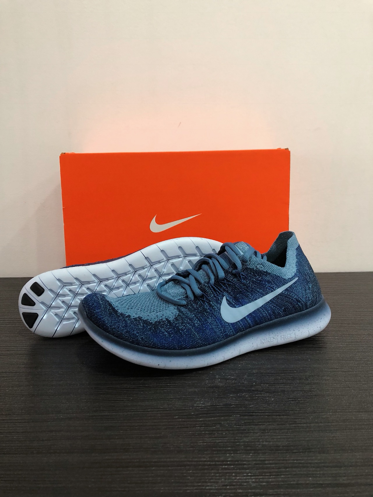 7325bede6846 Womens Collection Option  W4 WMNS NIKE Free RN Flyknit 2017 (Ocean Fog Cirrus  Blue) Style  880844 404. US 7.5