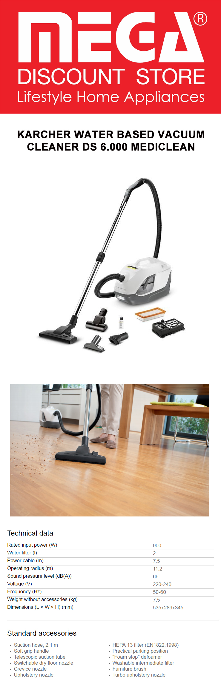 karcher water based vacuum cleaner ds 6.000 mediclean – rely