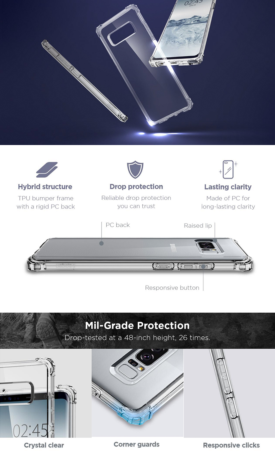 Buy Spigen Samsung Note 8 Case Casing Galaxy Screen Protector Crystal Hybrid For Shell Color Clear