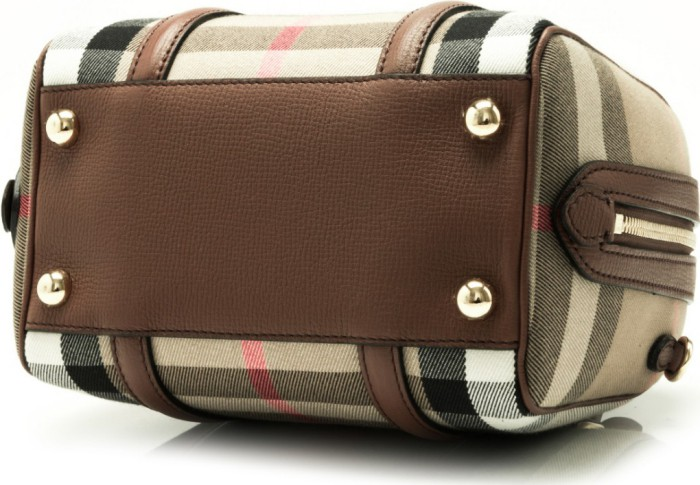 4e3e06f93fbd Burberry House Check Derby Leather Small Alchester Bowling Bag (Tan)