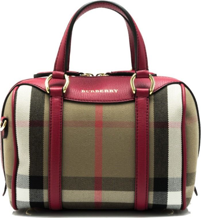 6a9631bcf251 Burberry House Check Derby Leather Small Alchester Bowling Bag (Russet Red)