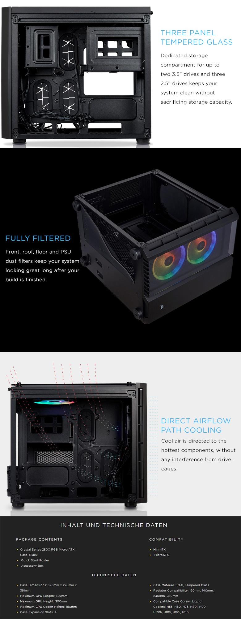 Corsair Crystal Series 280x Rgb Black Tempered Glass Micro Atx Computer Case Cc 9011135 Ww Video Pro Estore