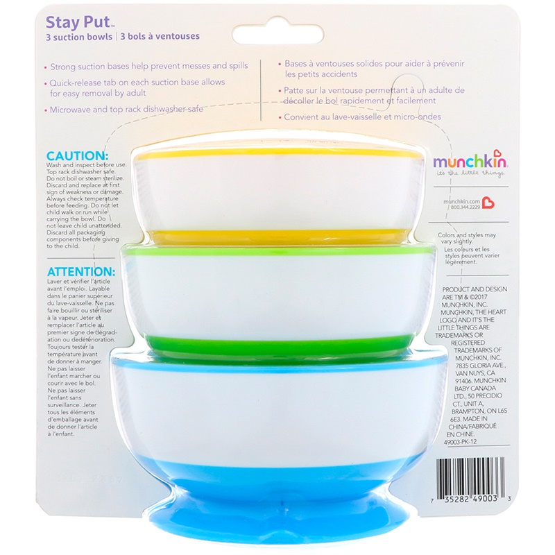 Baby 4 Pack Munchkin Stay Put Suction Bowls 3 Ct
