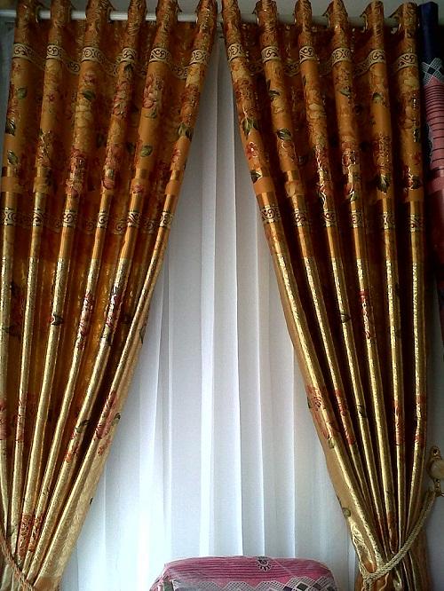 Curtains - curtains / gordyn blackout bangs and no bangs can be added vitrase pretty minimalist motif. MAWAR EMAS COKLAT