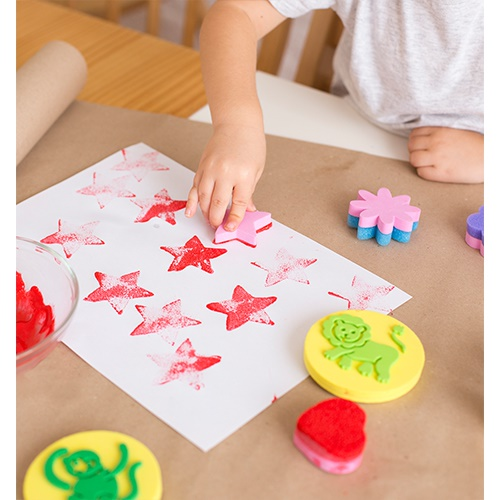 Small Sponge Stamps To Print Paint 4 Units Geometric Shapes Star Flower Heart And Cloud Product Specially Designed Help The Little Ones Get Acquainted