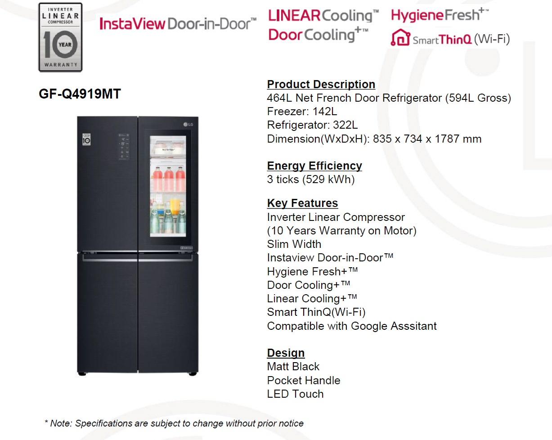 LG GF-Q4919MT Slim French Door Refrigerator (464L)