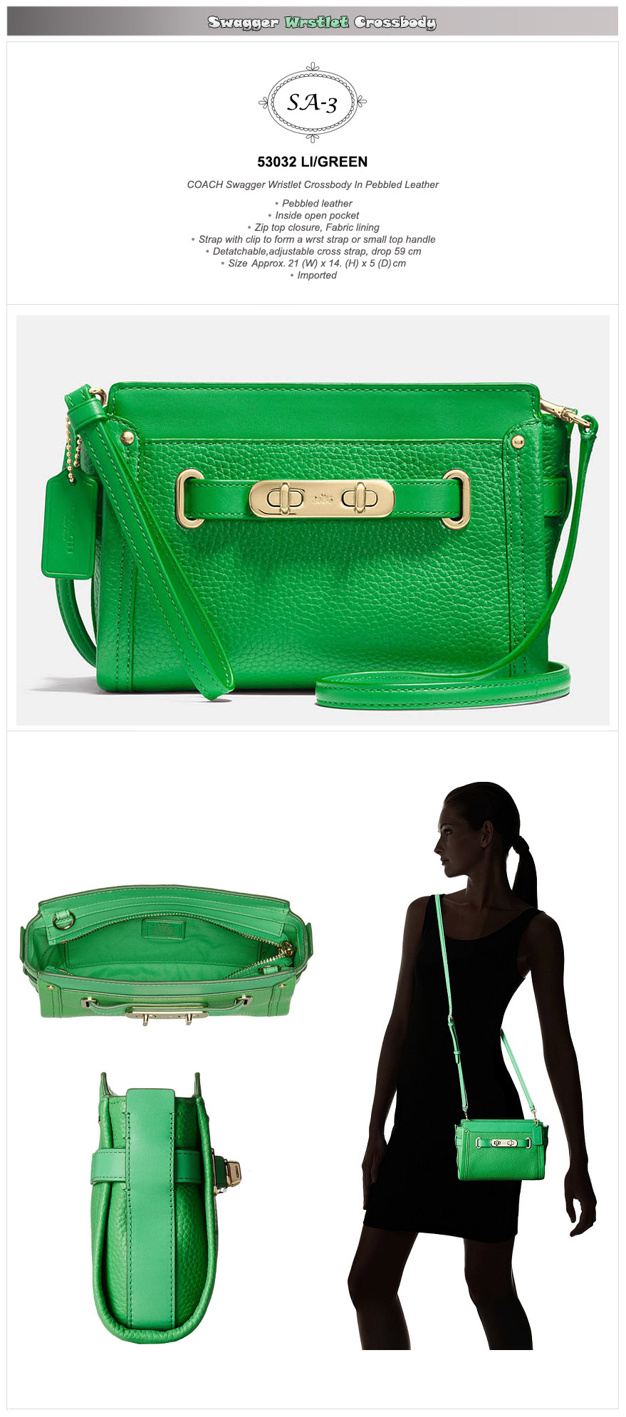 Buy Restockexclusive Sale Coach Swagger Official Genuine Products 27 Pebbled Green Go And Save Your Money Up