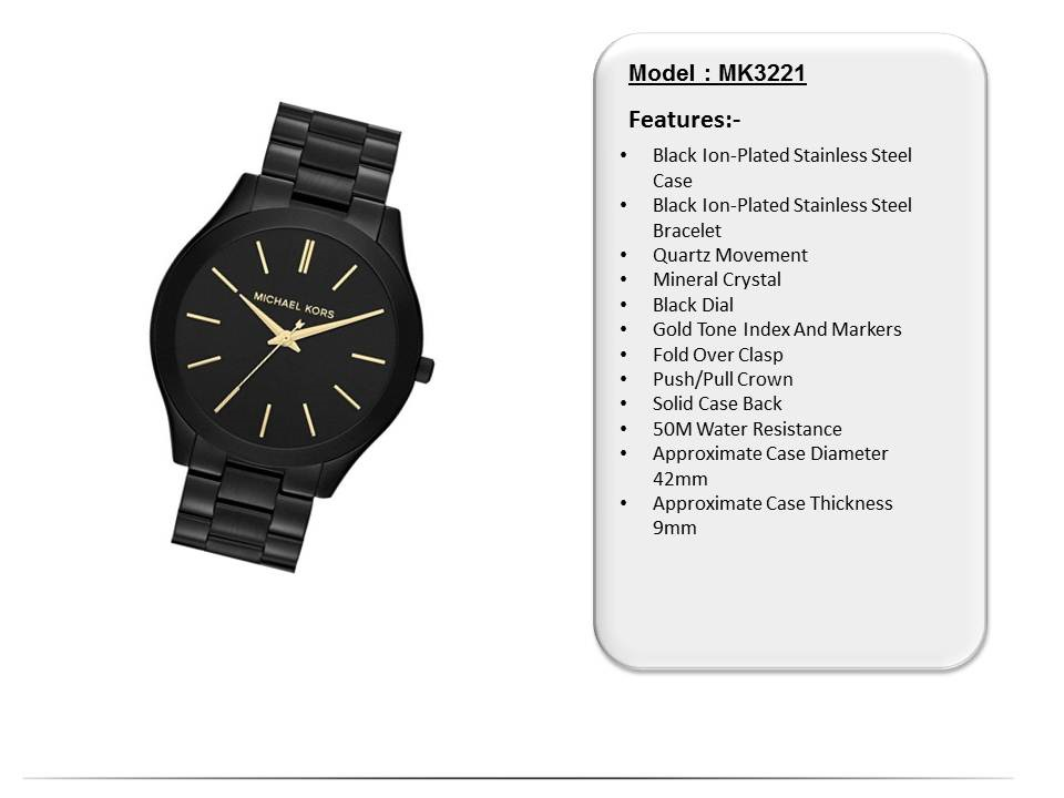341c8b337b  CreationWatches  Michael Kors Slim Runway Black Dial MK3221 Women s Watch