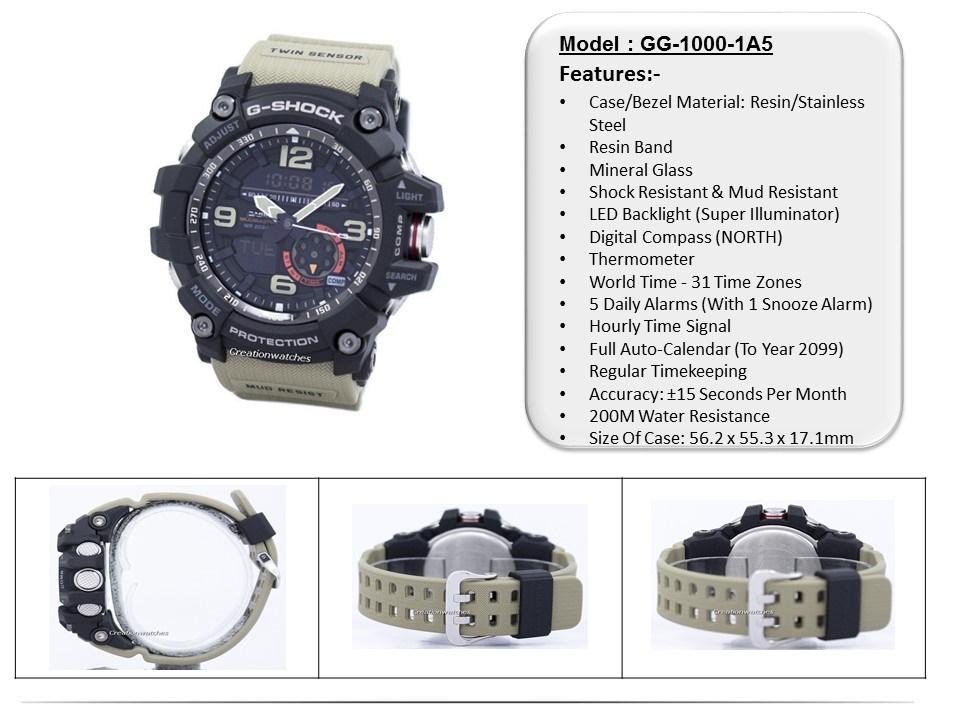 52ca69eb3  CreationWatches  Casio G-Shock Mudmaster Analog Digital Twin Sensor GG-1000-1A5  Mens Watch