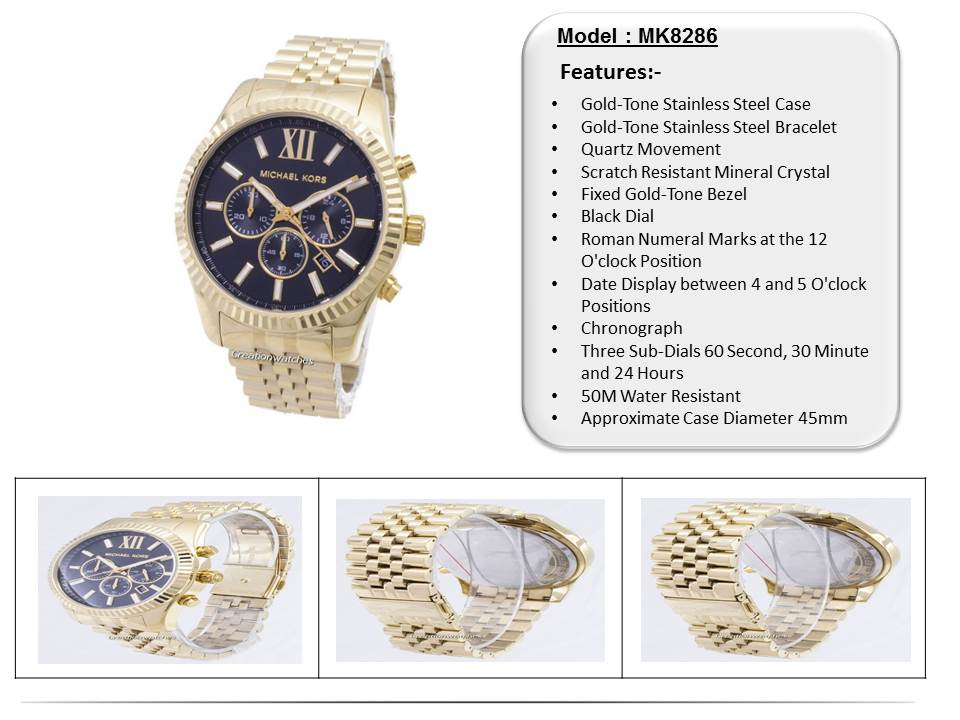8e2fe2091533  CreationWatches  Michael Kors Lexington Chronograph Black Dial Gold-tone  MK8286 Mens Watch