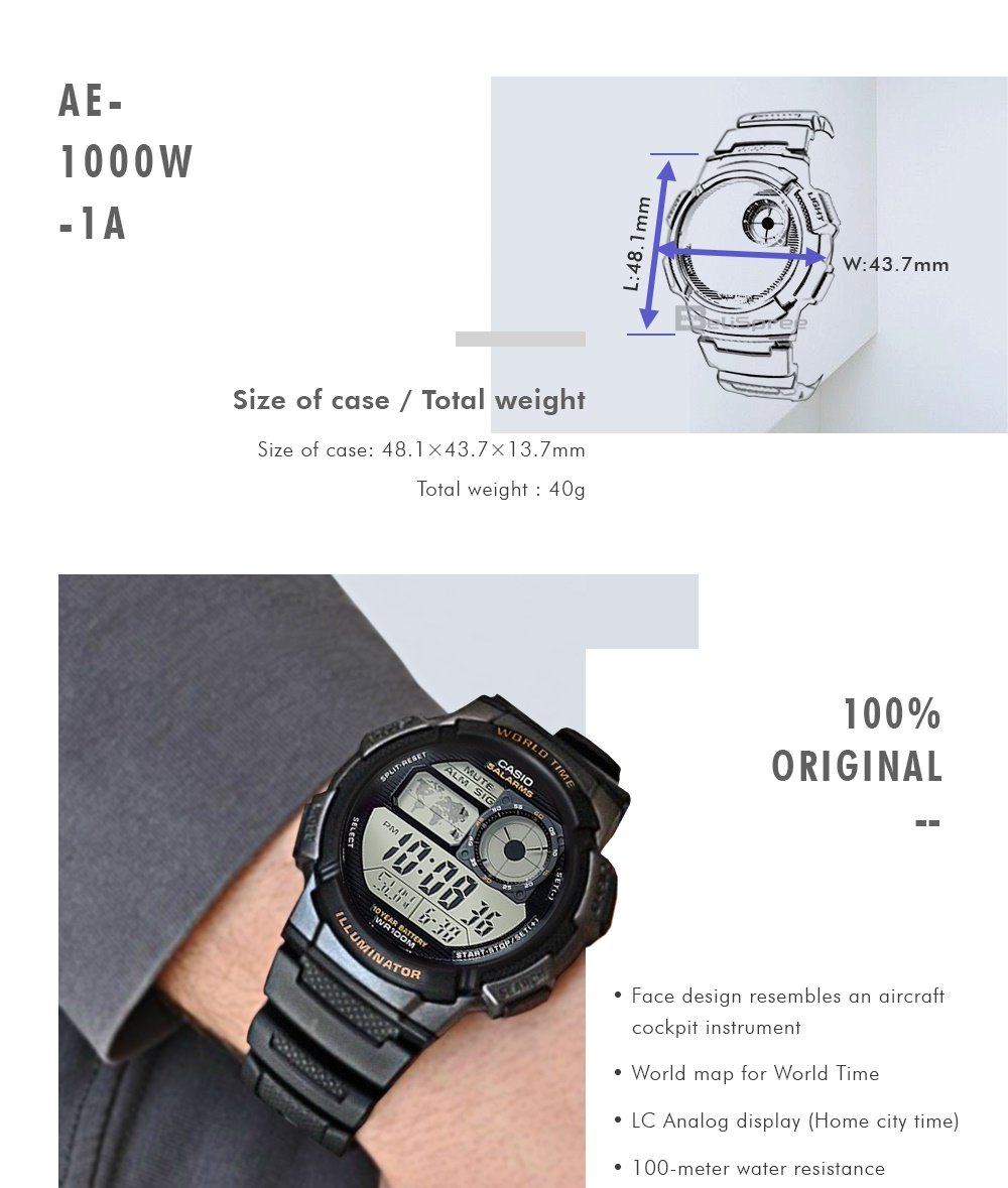 Every Need Want Day Casio World Time Ae 1000wd Original Use 20 Coupons Authentic Watch Standard 1000w Series Digital Watches