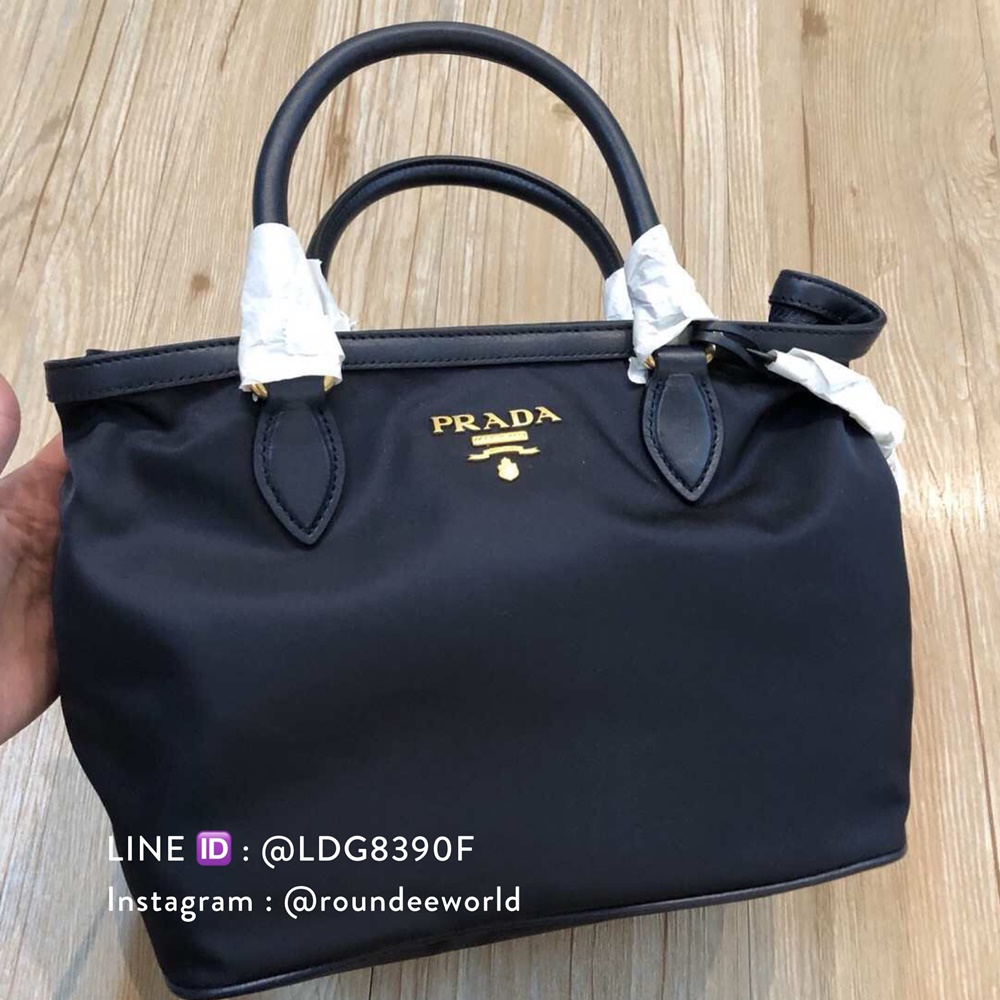 e73d0f5c0899 Dustbag & Authenticity Card included. 1BA172 : Prada Tessuto & Soft Calf  Handbag - Black
