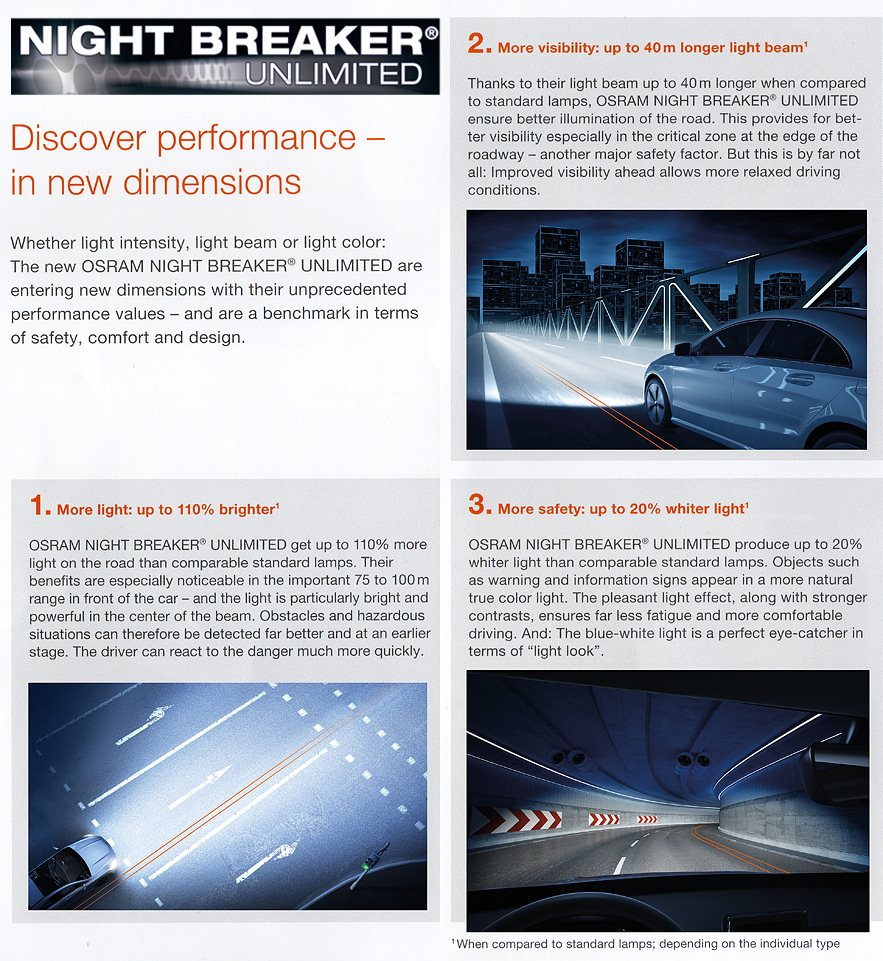 Osram Night Breaker Unlimited High Beam Bulbs Main HI Headlight Headlamp Genuine