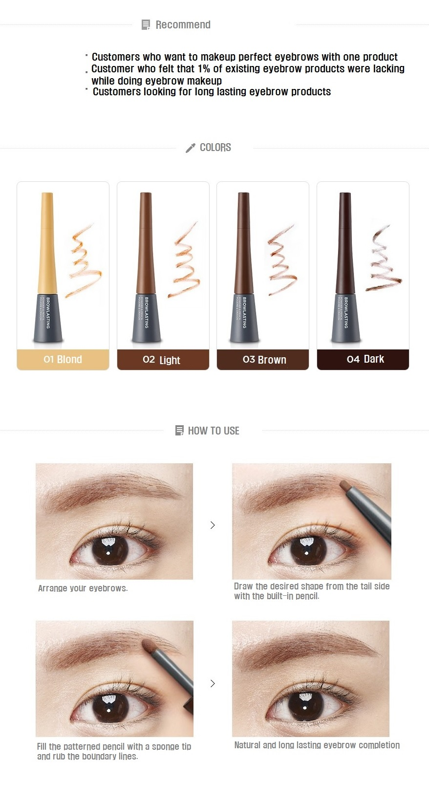 The Face Shop Long Lasting Powder Pencil All In One Eyebrow Makeup